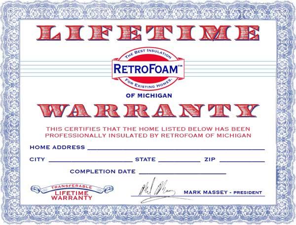 RetroFoam Warranty Certificate