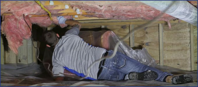 Crawl space fiberglass insulation