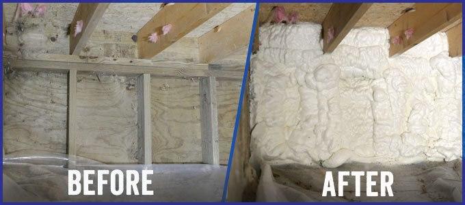Crawl space spray foam insulation